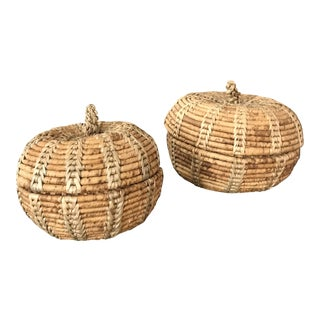 Pair of Pumpkin Shaped Baskets With Lids