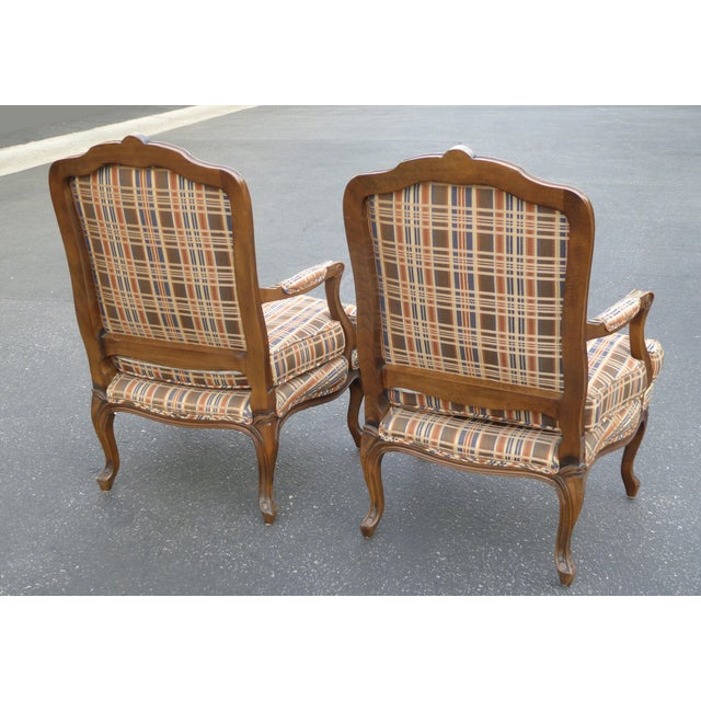 Vintage French Country Carved Wood Brown Orange Plaid Chairs - A Pair - Image 5 of 10