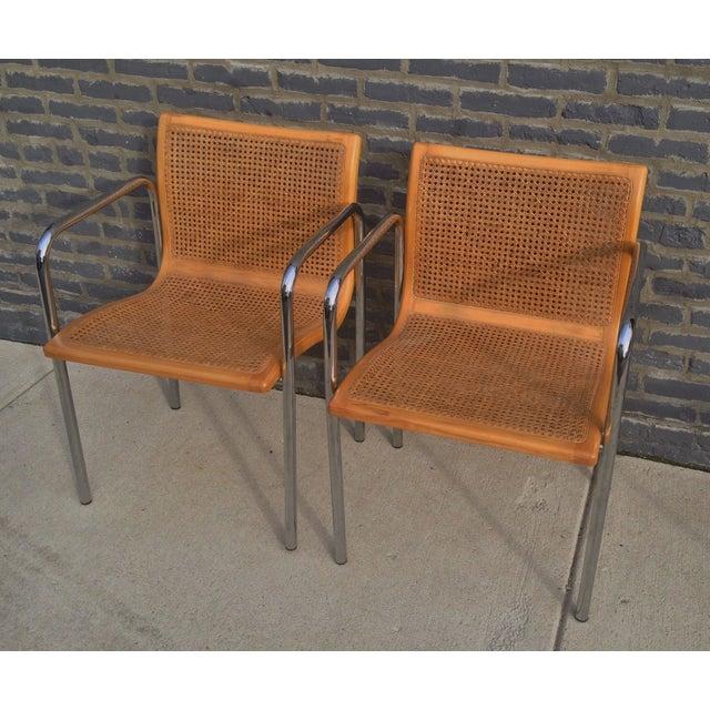 Italian Mcm Curved Cane Amp Chrome Chairs A Pair Chairish