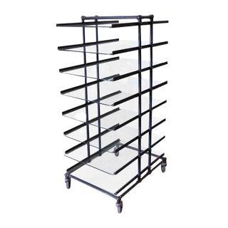 Eight Glass Black Shelf Storage Unit