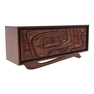 Witco Carved Front Walnut Cabinet / Credenza in the Style of Philip Lloyd Powell