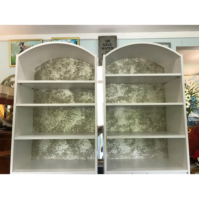 Mid-Century Modern Satin White and Zinc Cabinets - A Pair - Image 8 of 9