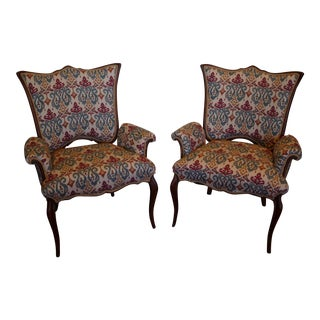 French Bohemian Tulip Accent Chairs - A Pair