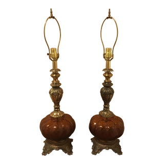 Hollywood Regency Vintage Amber Glass Lamps - A Pair