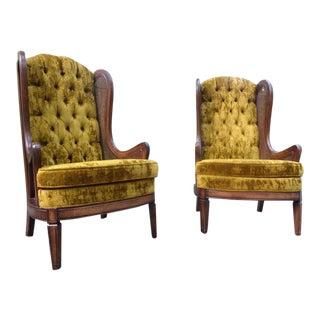 Mid-Century Bassett Cane Velvet Tufted Wingback Chairs - A Pair
