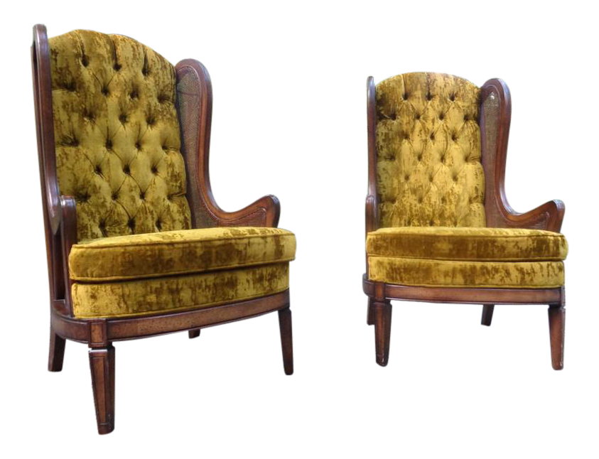 midcentury bassett cane velvet tufted wingback chairs a pair