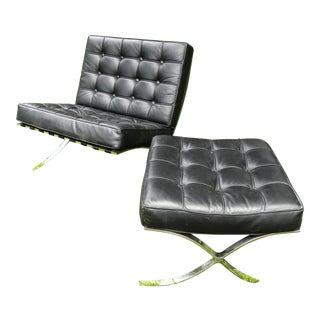 Vintage Leather Barcelona Style Chair and Ottoman