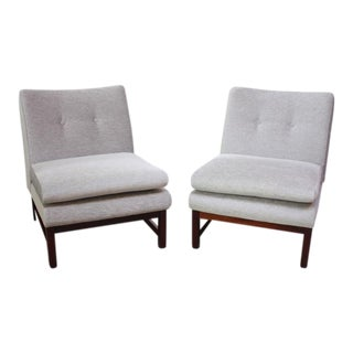 Pair of Danish Slipper Chairs in Chenille and Rosewood
