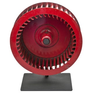 Vintage Red Industrial Fan Blade on Iron Stand