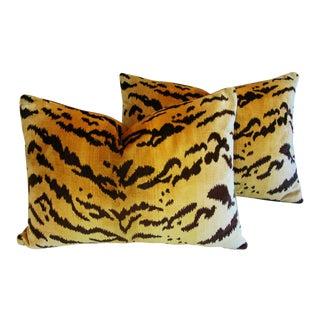 """Scalamandre Italian """"Le Tigre"""" Tiger Stripe & Mohair Pillows - a Pair"""