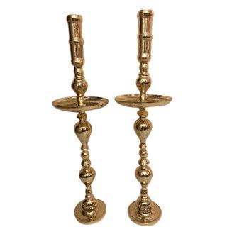 Antique Architectural Gothic Church Paschal Alter Brass Candlesticks - A Pair