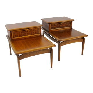 Lane Mid Century Modern Walnut End Tables - a Pair