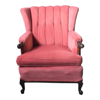 Duncan Phyfe Pink Wing Channel Back Chair