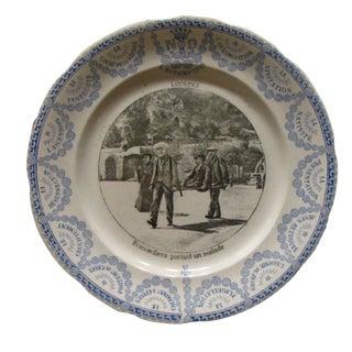 19th C. Lourdes Blue & White Transferware Plate
