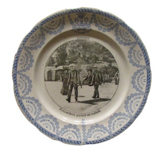 19th C. Lourdes Blue & White Transferware Plate