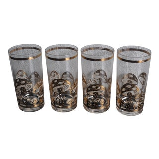 Culver Gold Mushroom Highballs - Vintage Set of 4