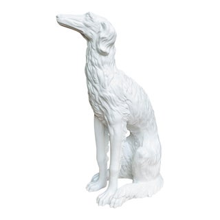 Hollywood Regency Life-Size Ceramic Borzoi Statue