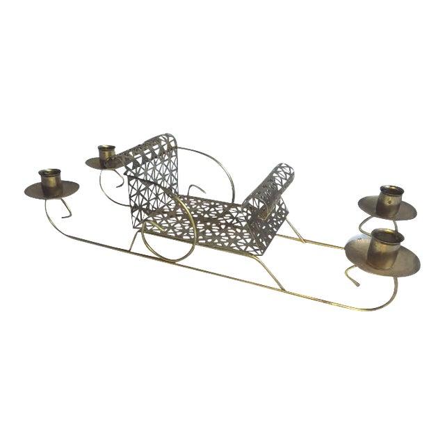 Mid-Century Pierced Metal Sleigh Candleholder - Image 1 of 8