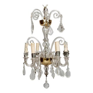 French Tiered All Crystal Six Light Chandelier c.1920