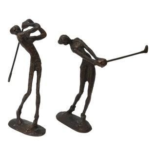 Circa 1960s Bronze Golfer Figurines - A Pair