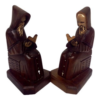 Arts & Crafts-Style Hand-Carved Bookends - A Pair