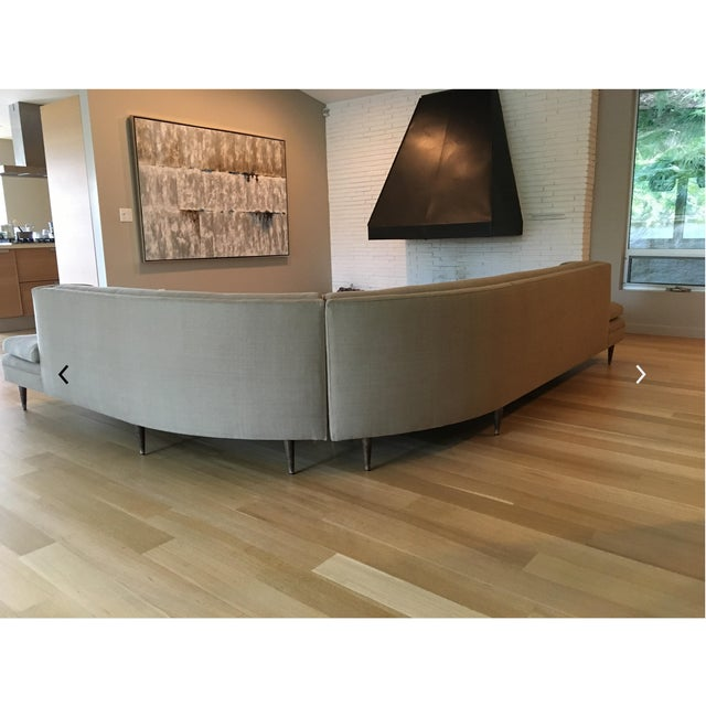 Mid-Century Linen Upholstered Two Piece Setional Sofa - Image 6 of 9