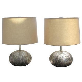 Silver Metal Table Lamps - A Pair