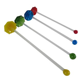 Glass Umbrella Swizzle Sticks - Set of 4