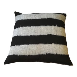 Black & Gray Ikat Striped Pillow