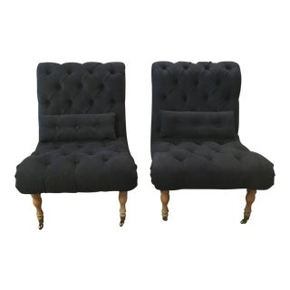 Dark Blue Tufted Slipper Chairs - A Pair