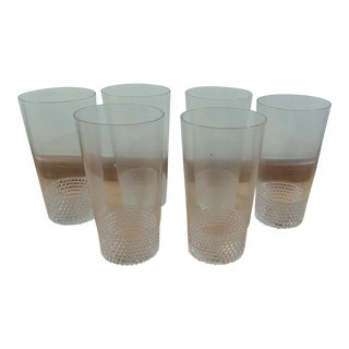 Clear Glass Tumblers With Hobnail Style Pattern - Set of 6