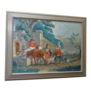 "Large Early 19th c. Gouache Painting, ""By the Water Trough"""