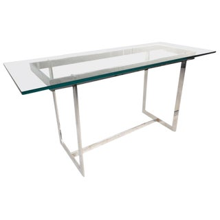 Milo Baughman Style Mid-Century Glass & Chrome Console Table