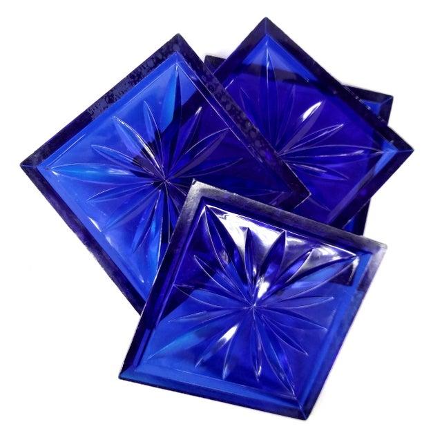 Mid Century Cobalt Blue Cut Lucite Coasters - 4 - Image 7 of 8