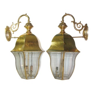 "Pair of Large 24"" Tall Beveled Curved Glass Brass Outdoor Lantern Sconces"