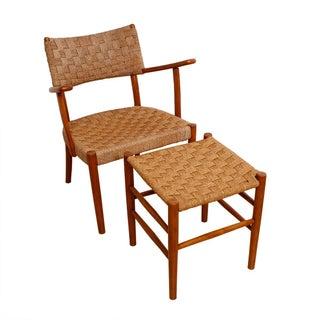 Fritz Hansen 1930's Woven Rope Chair & Ottoman
