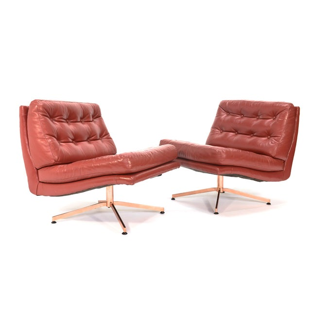 Founders Leather & Bronze Lounge Chairs - A Pair - Image 2 of 7