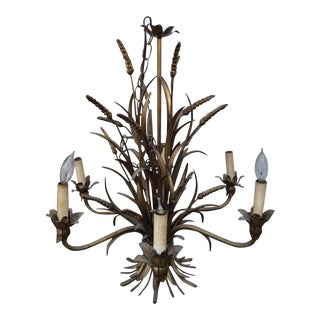 Hollywood Regency Gold Gilt Wheat Sheath Chandelier