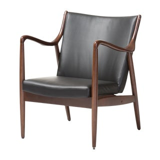 Mid-Century Black Shakespeare Faux Leather Accent Chair