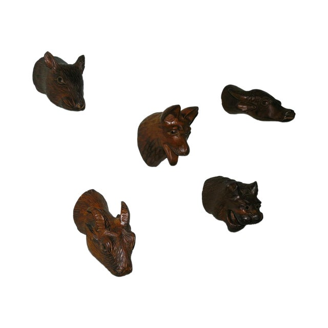Image of Carved Wood Chinese Zodiac Mounts