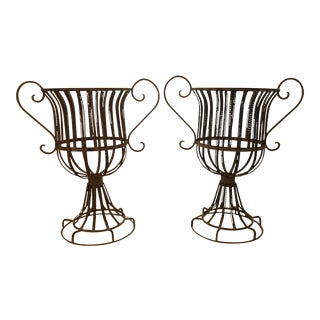 French Wire Medici-Style Garden Urns - a Pair