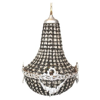 Hollywood Regency Black & Crystal Chandelier