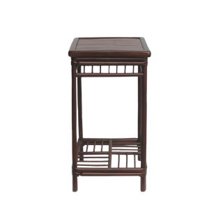 Chinese Handmade Vintage Bamboo Square Side Table Plant Stand