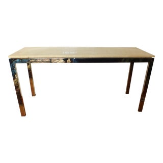 Mid-Century Travertine & Chrome Console Table