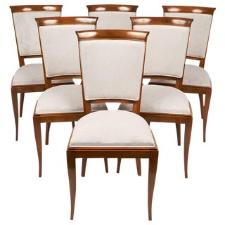 Art Deco French Polished Walnut Dining Chairs- Set of 6
