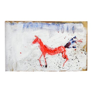 Mixed Media Red Horse Abstract