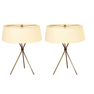 T.H. Robsjohn-Gibbings for Hansen Brass Tripod Table Lamps - a Pair