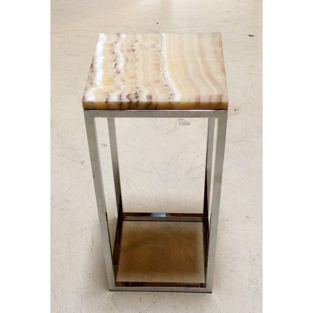 Image of Milo Baughman Chrome & Marble Pedestal