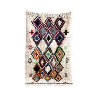 Wool & Rainbows Vintage Moroccan Rug- 3′10″ × 5′10
