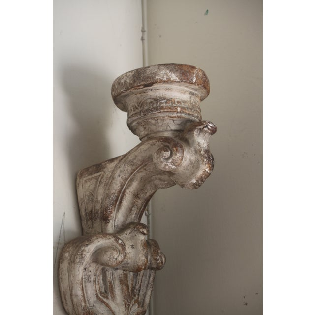 Image of Gesso Wood Carved Wall Candle Sconces - A Pair